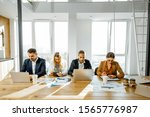 group of a young office... | Shutterstock . vector #1565776987