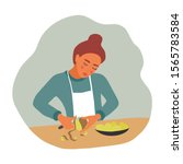 girl peeling potatoes for... | Shutterstock .eps vector #1565783584