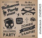 halloween vintage labels.... | Shutterstock .eps vector #156585425