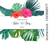 floral background with palm... | Shutterstock .eps vector #1565868577