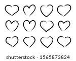 hand drawn grunge heart set.... | Shutterstock .eps vector #1565873824