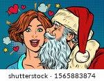 Santa Claus Kisses A Woman....