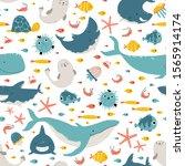 Sea Animals And Fish. Vector...