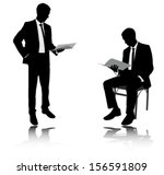 businessman reading report... | Shutterstock .eps vector #156591809