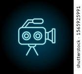 camera  video blue neon icon....