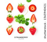 Small photo of Fresh red strawberry fruit and leaf collection as creative layout isolated on white background. Healthy eating food concept. Spring fruits and berries arrangement. Top view, flat lay, design element