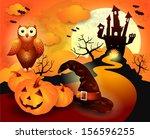 halloween background in orange  ... | Shutterstock .eps vector #156596255