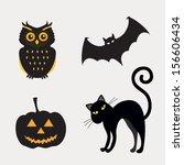 halloween set of element.... | Shutterstock .eps vector #156606434