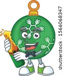 Cartoon Green Christmas Ball...