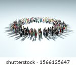People Gather At The Center Of...