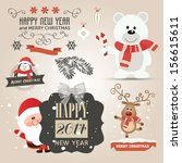 set of christmas vector... | Shutterstock .eps vector #156615611