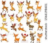 cartoon reindeer christmas... | Shutterstock .eps vector #1566198601