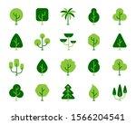 green tree flat cartoon icons... | Shutterstock .eps vector #1566204541