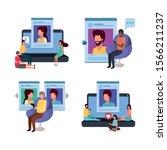 icon set design  digital... | Shutterstock .eps vector #1566211237