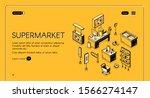 supermarket isometric landing...   Shutterstock .eps vector #1566274147