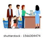people standing in long queue... | Shutterstock .eps vector #1566304474