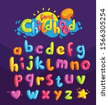 childhood vector color font.... | Shutterstock .eps vector #1566305254