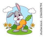 Cute Rabbit Holding Carrot ...