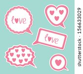 speech bubble set with hearts... | Shutterstock . vector #156633029