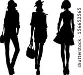 vector set 1 silhouette of fashion girls top models