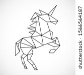 unicorn in a geometric style.... | Shutterstock .eps vector #1566564187