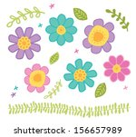 bright doodle flower vector... | Shutterstock .eps vector #156657989