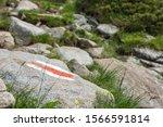 Tourist Route Mark On Stone ...