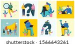 office work and remote work ... | Shutterstock .eps vector #1566643261