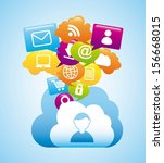 cloud computing over blue... | Shutterstock .eps vector #156668015
