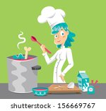 chef woman cooking soup  green...   Shutterstock .eps vector #156669767