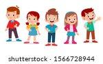 kids boy and girl pose as model ... | Shutterstock .eps vector #1566728944