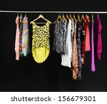 female variety of clothes... | Shutterstock . vector #156679301