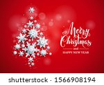 realistic paper cut snowflakes... | Shutterstock .eps vector #1566908194