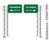 street sign point to tomorrow... | Shutterstock .eps vector #156697349