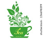 cute tea time card. cup with... | Shutterstock .eps vector #156698399
