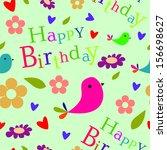 happy birthday pattern with bird   Shutterstock .eps vector #156698627