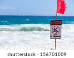 Warning No Swimming Sign  Sand...
