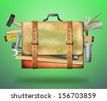 leather bag with tools | Shutterstock . vector #156703859