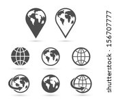 globe earth icons set isolated... | Shutterstock .eps vector #156707777