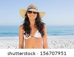 smiling attractive brunette... | Shutterstock . vector #156707951