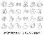users line icons. profile ... | Shutterstock .eps vector #1567101004