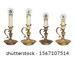Candle Sketch Set. Hand Drawn...