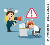 boss with megaphone yelling to... | Shutterstock .eps vector #1567168381