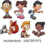 cartoon kids performing... | Shutterstock .eps vector #1567207471