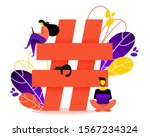 big hashtag and small people....   Shutterstock .eps vector #1567234324