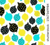 hand drawn lemons seamless... | Shutterstock .eps vector #1567369984