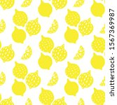 hand drawn lemons seamless... | Shutterstock .eps vector #1567369987