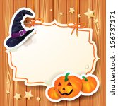 halloween background with label ... | Shutterstock .eps vector #156737171