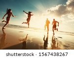 Four Happy Tourists Runs To...