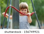 laughing girl climbing at... | Shutterstock . vector #156749921